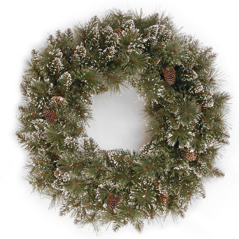 24-in. Artificial Glitter Bristle Pinecone Pine Wreath