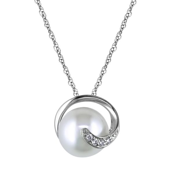 10k White Gold Diamond Accent & Freshwater Cultured Pearl Pendant