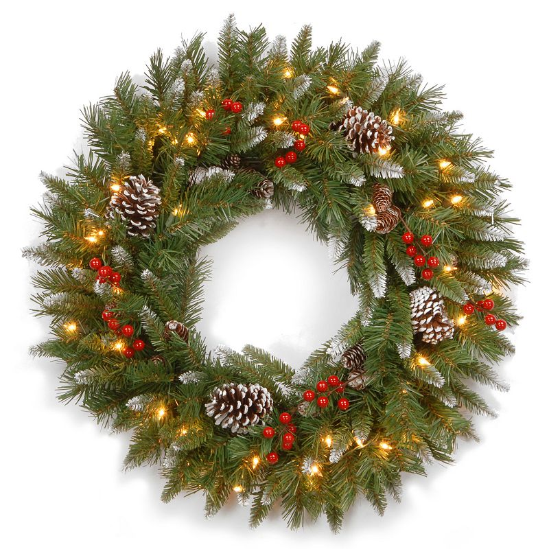 24-in. Pre-Lit Artificial Frosted Berry Wreath