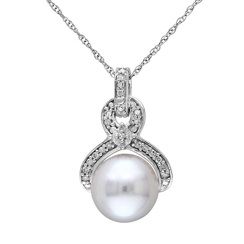 10k White Gold 1/10 Carat T.W. Diamond & Freshwater Cultured Pearl Pendant