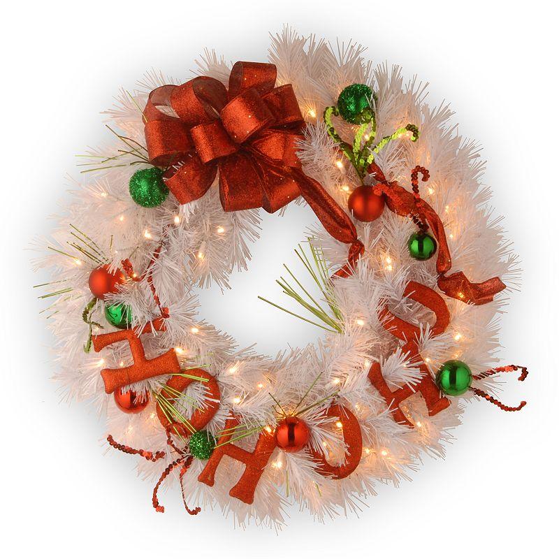 24-in. Decorative Pre-Lit LED ''Ho Ho Ho'' Ornament Wreath