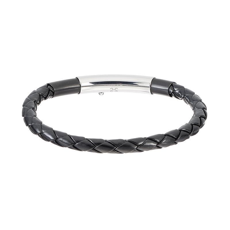 FOCUS FOR MEN Stainless Steel & Leather Braided Bangle Bracelet