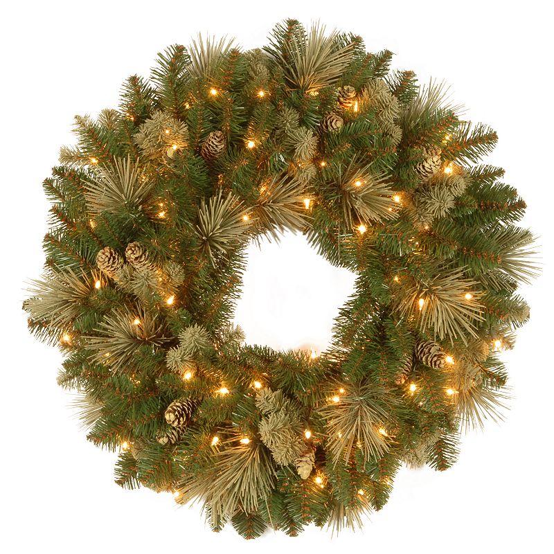 24-in. Pre-Lit Artificial Flocked Pinecone Carolina Pine Wreath