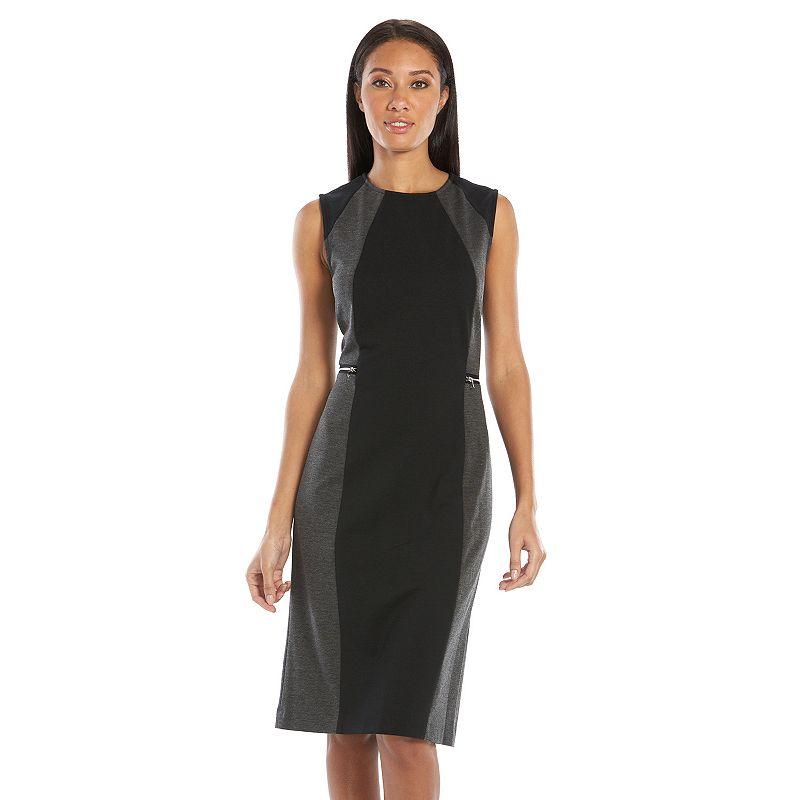 Sharagano Colorblock Ponte Midi Sheath Dress - Women's