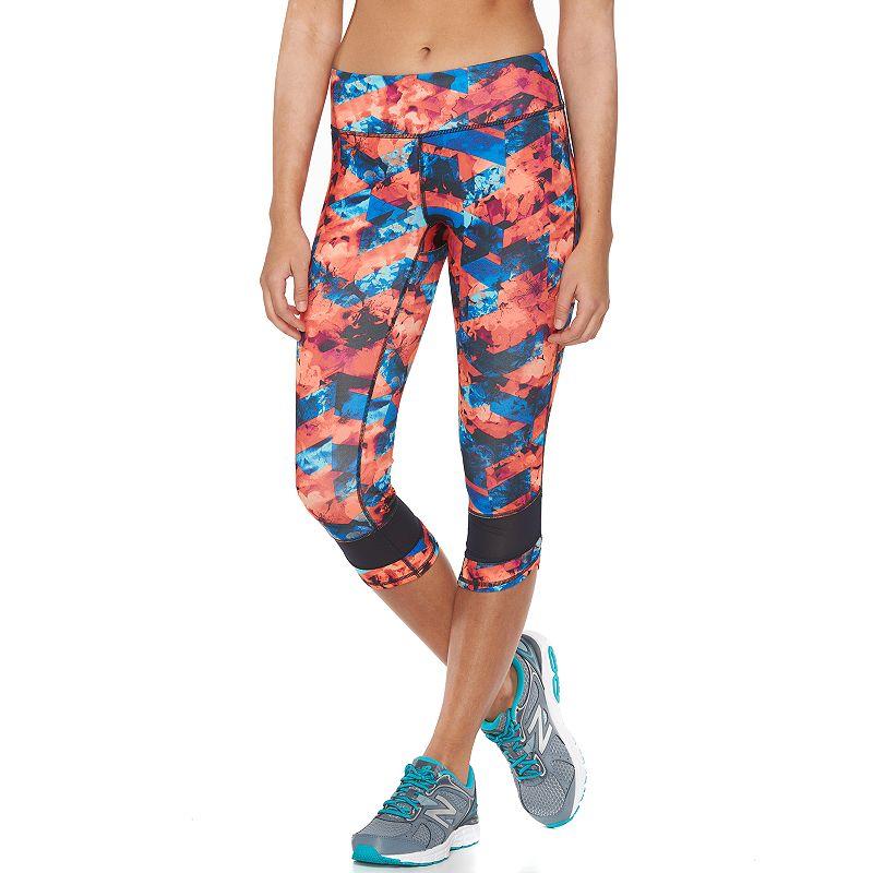 Women's Tek Gear® Printed Mesh-Hem Capri Workout Leggings