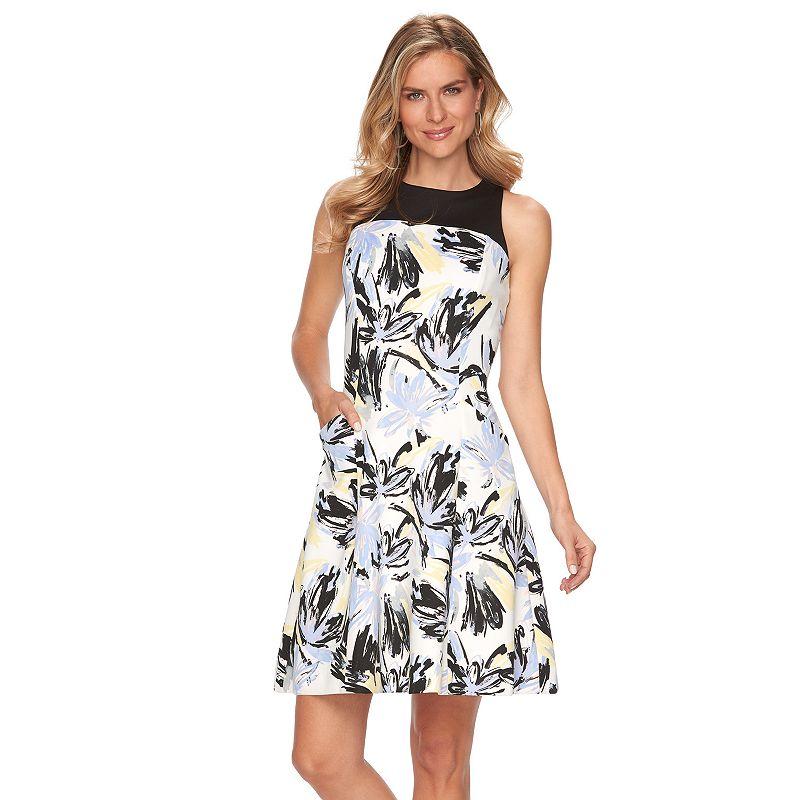 Women's Chaps Floral Fit & Flare Scuba Dress
