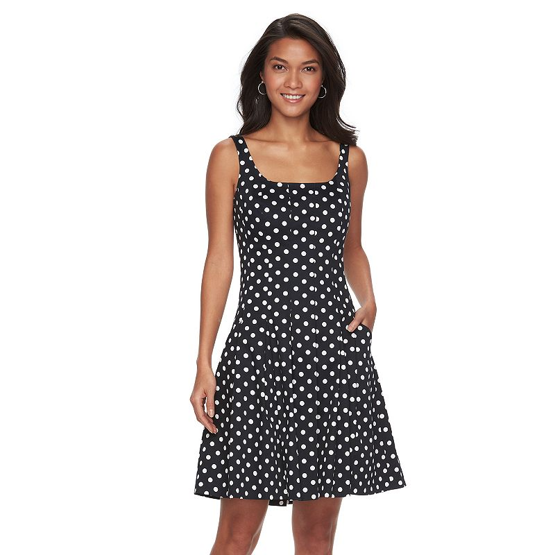 Women's Chaps Polka-Dot Sateen Fit & Flare Dress