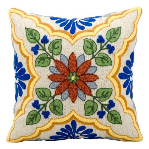 Kathy Ireland Ivory Floral Throw Pillow
