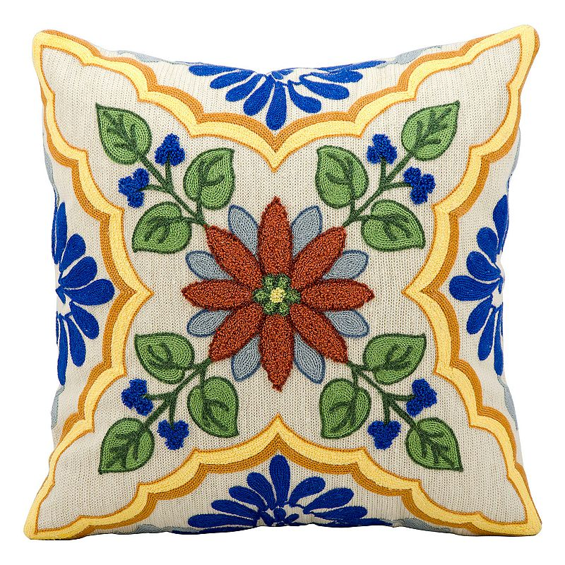 Kathy Ireland Ivory Floral Throw Pillow