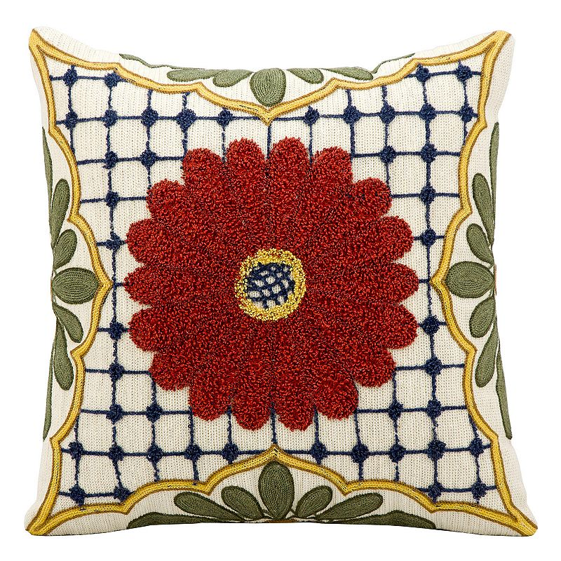 Kathy Ireland Textured Floral Throw Pillow