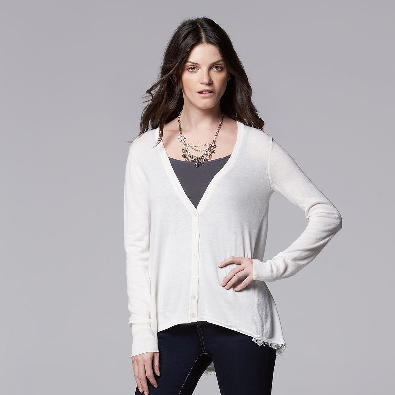 Women's Simply Vera Vera Wang Lace-Trim Cardigan