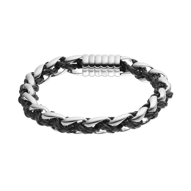 FOCUS FOR MEN Stainless Steel & Leather Braided Bracelet