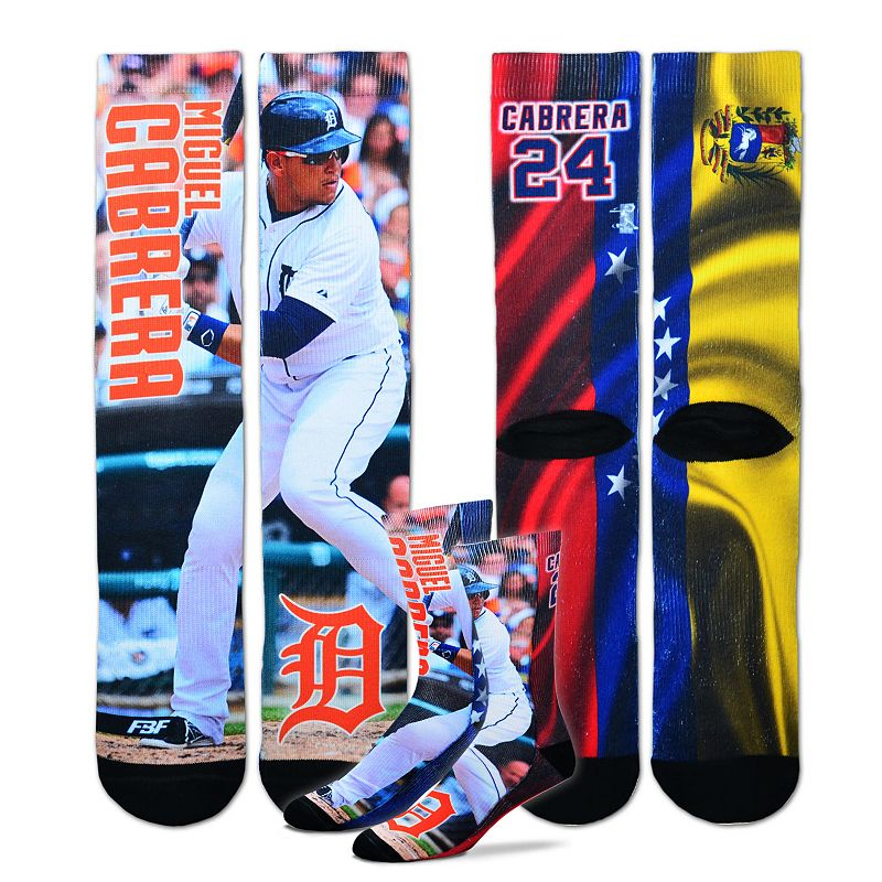 Men's For Bare Feet Detroit Tigers Miguel Cabrera Promo Crew Socks
