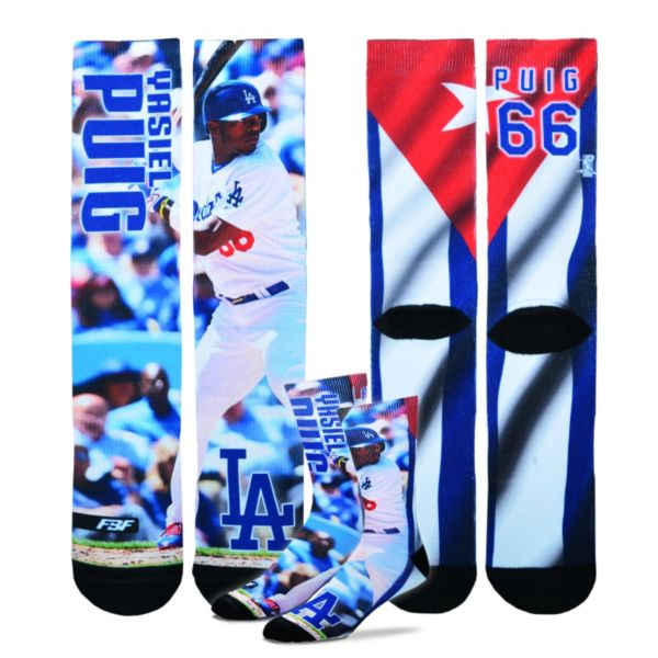 Men's For Bare Feet Los Angeles Dodgers Yasiel Puig Promo Crew Socks
