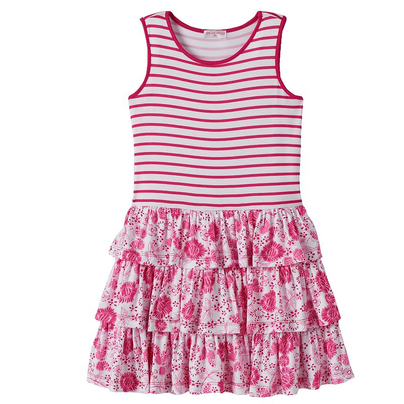 Design 365 Girls 4-6x Tiered Floral Dress