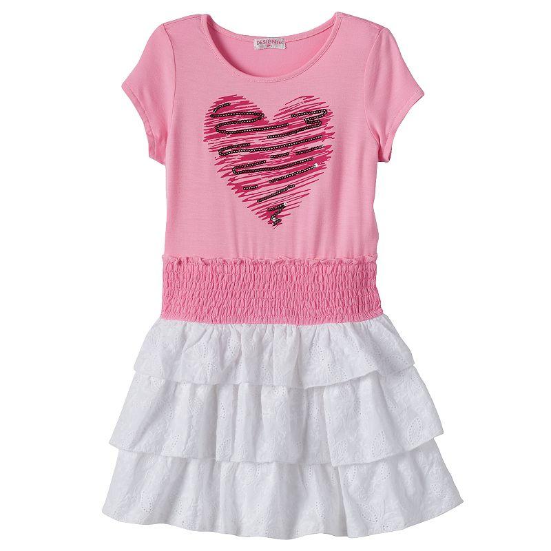 Design 365 Toddler Girl Sequin Heart Dress