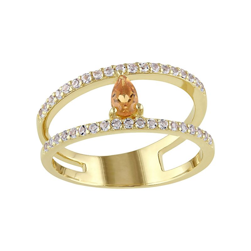 Citrine & White Topaz Sterling Silver Double Row Ring