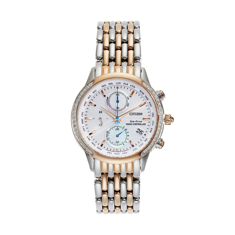 Citizen Eco-Drive Women's World A-T Two Tone Stainless Steel Chronograph Watch - FC5006-55A