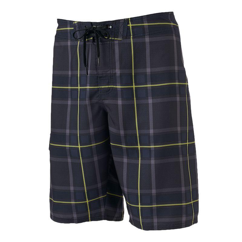 Men's Hang Ten Plaid Stretch Cargo Board Shorts