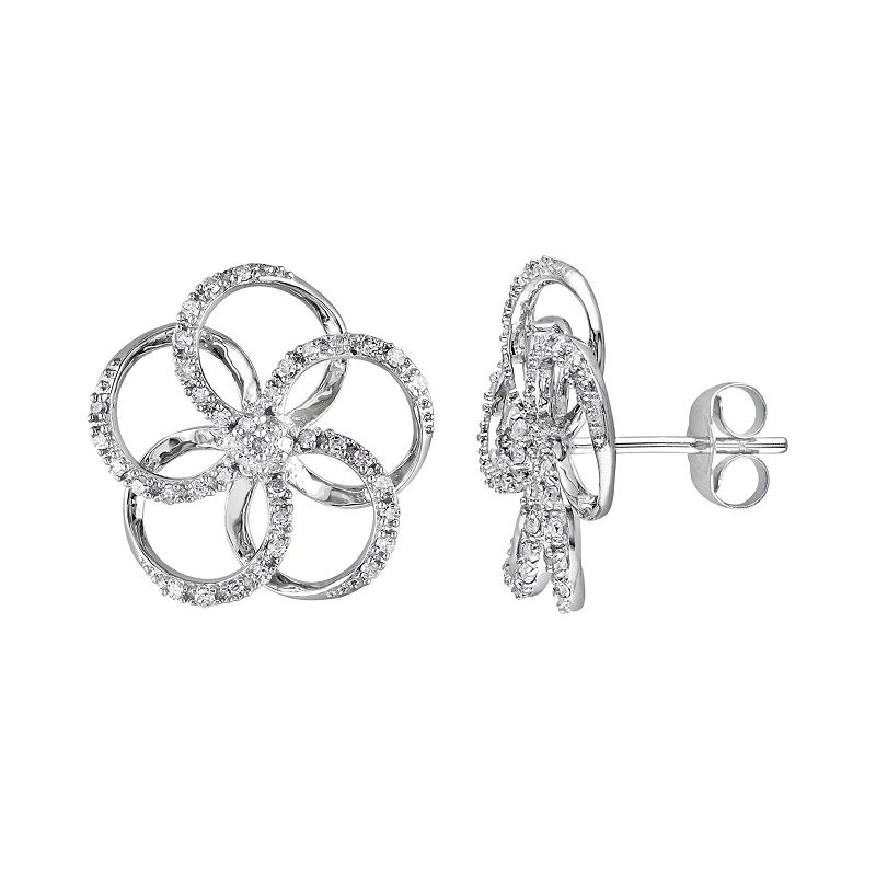 10k White Gold 1/3 Carat T.W. Diamond Flower Stud Earrings