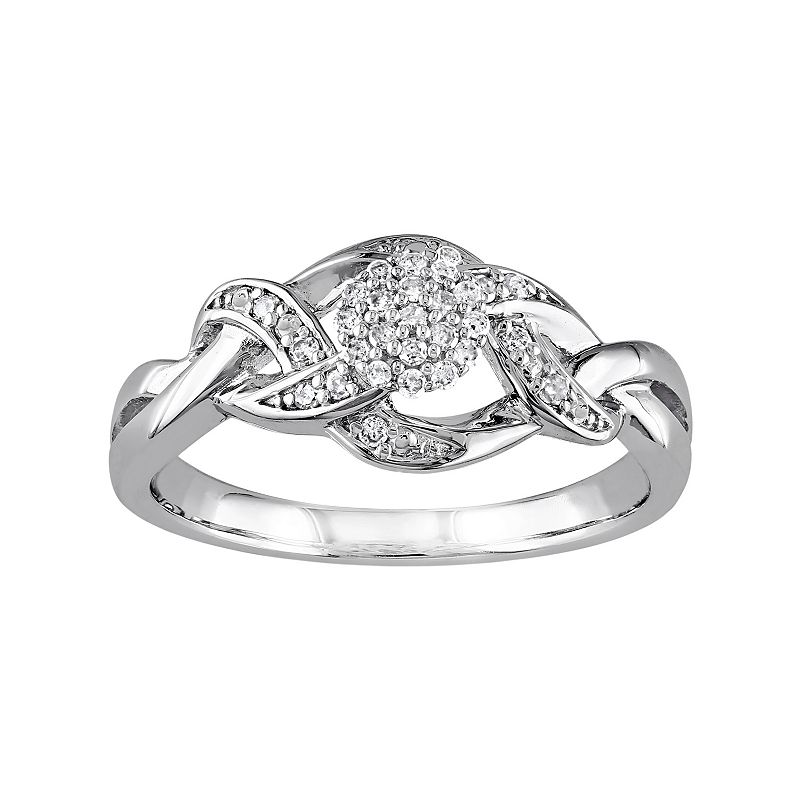 1/8 Carat T.W. Diamond 10k White Gold Openwork Woven Ring