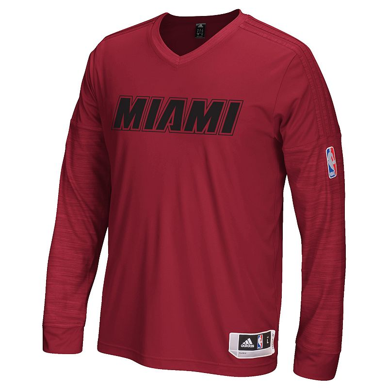 Men's adidas Miami Heat On Court Long-Sleeve Tee