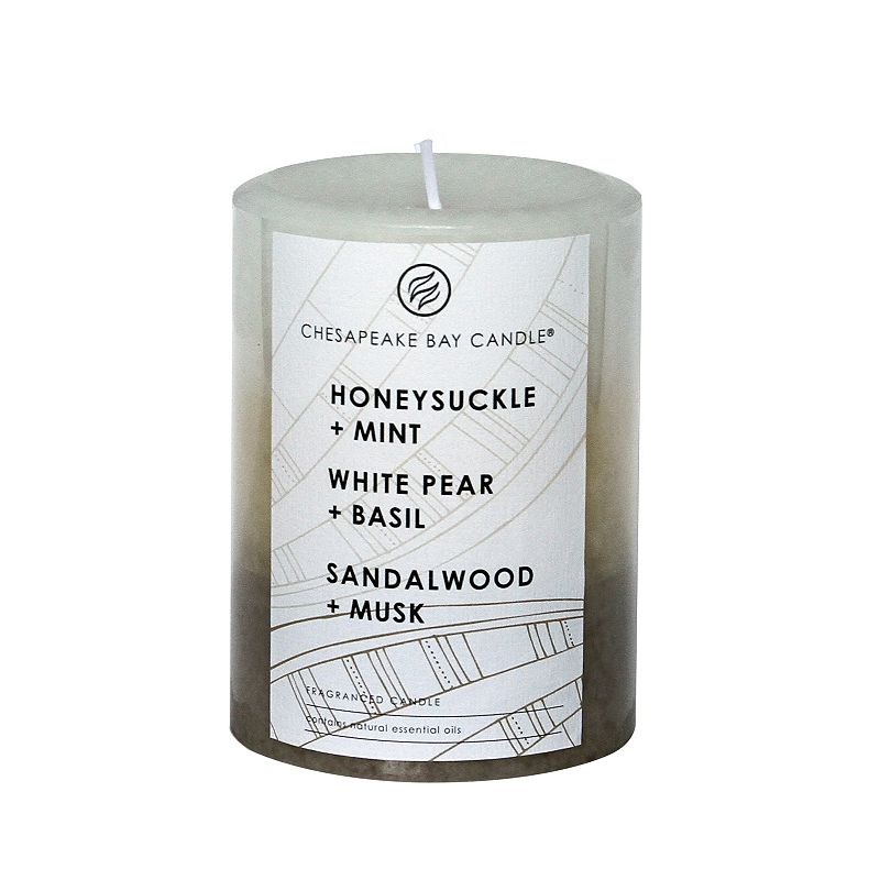 Chesapeake Bay Candle White Pear & Basil, Honeysuckle & Mint and Sandalwood & Musk Layered 4-in. Pillar Candle