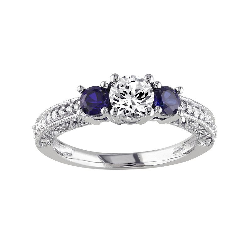 Lab-Created White & Blue Sapphire & 1/8 Carat T.W. Diamond 10k White Gold 3-Stone Engagement Ring