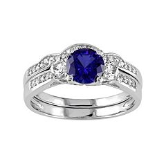 Lab-Created Blue & White Sapphire & 1/8 Carat T.W. Diamond 10k White Gold 3-Stone Engagement Ring Set by