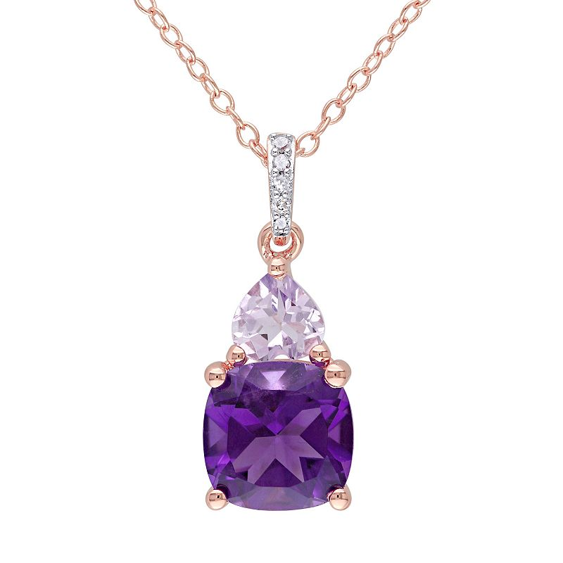 Amethyst, Rose de France Amethyst & Diamond Accent Sterling Silver Heart Pendant Necklace
