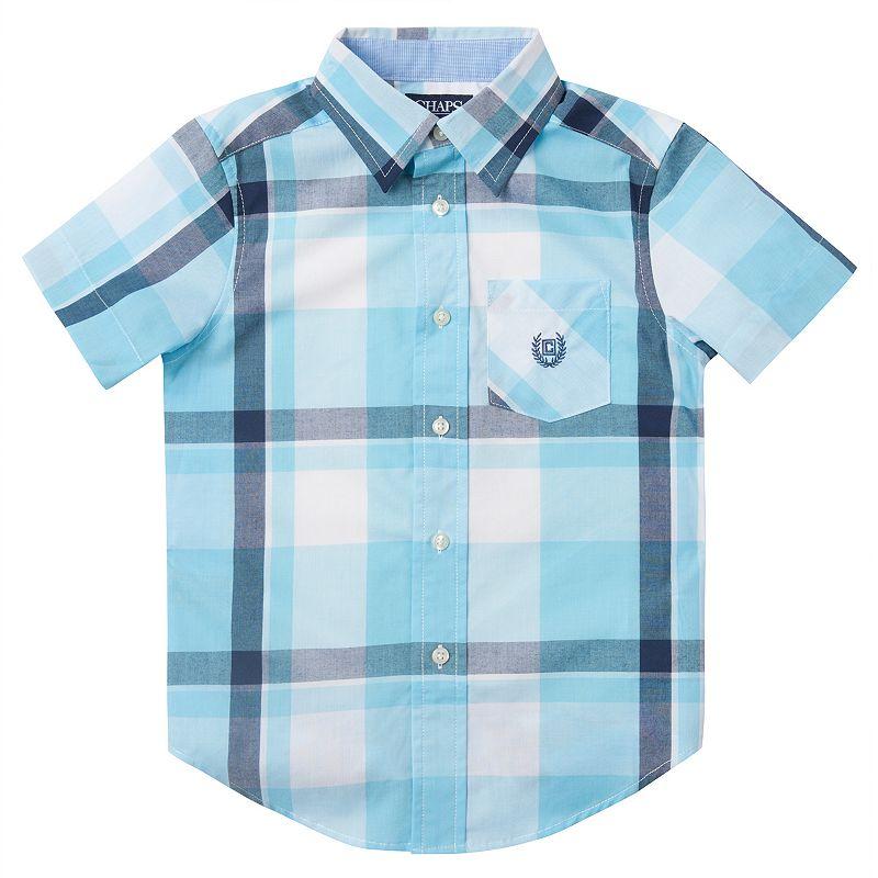 Boys 4-7 Chaps Blue Plaid Short Sleeve Button-Down Shirt