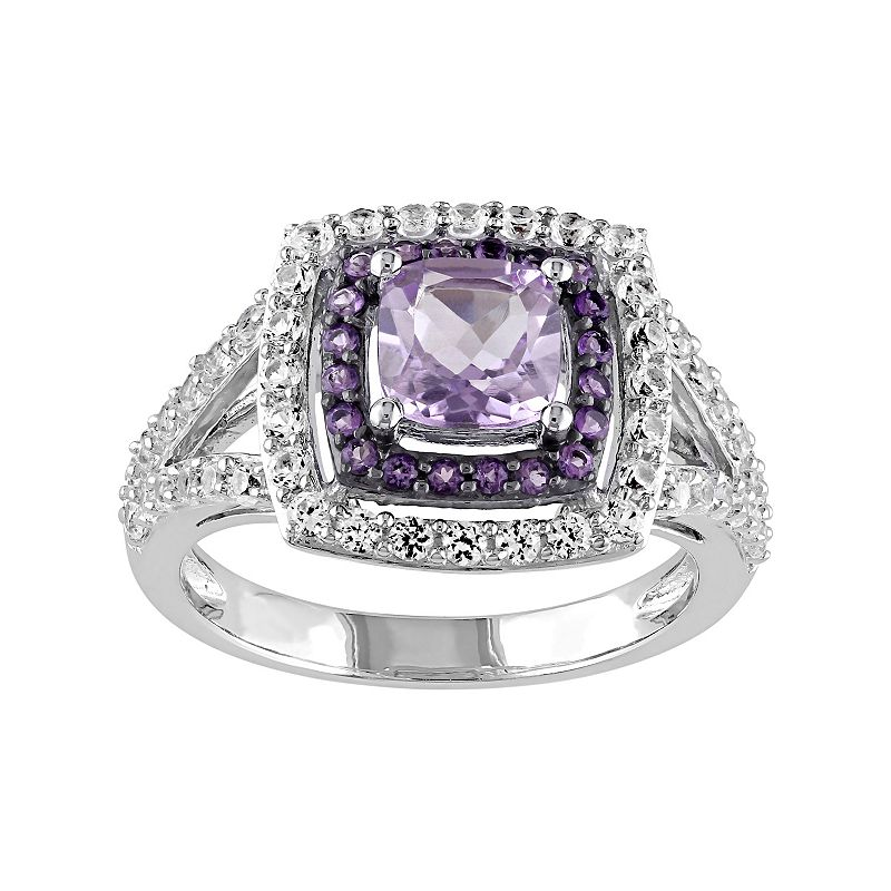 Sterling Silver Amethyst & White Sapphire Halo Ring