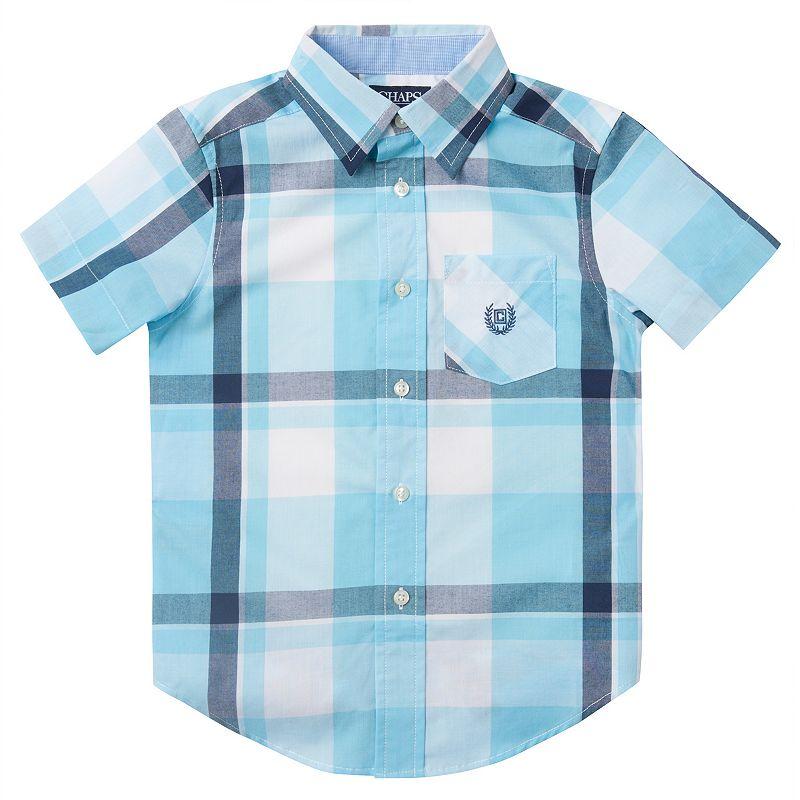 Toddler Boy Chaps Blue Plaid Short-Sleeve Button-Down Shirt