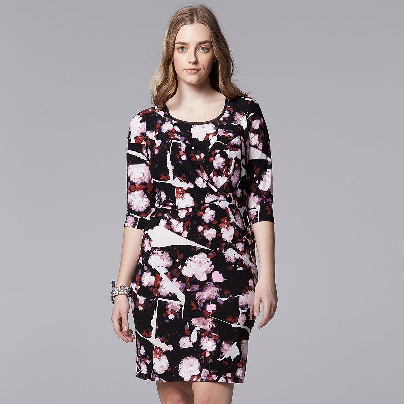 Plus Size Simply Vera Vera Wang Floral Shift Dress