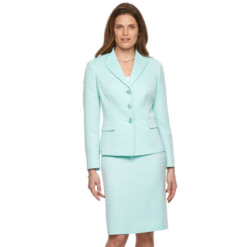 Women's Le Suit Tweed Suit Jacket & Skirt Set