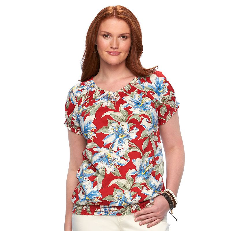 Plus Size Chaps Floral Smocked Peasant Top