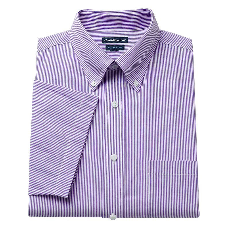 Men's Croft & Barrow® Classic-Fit Pinpoint Oxford Striped Button-Down Collar Dress Shirt