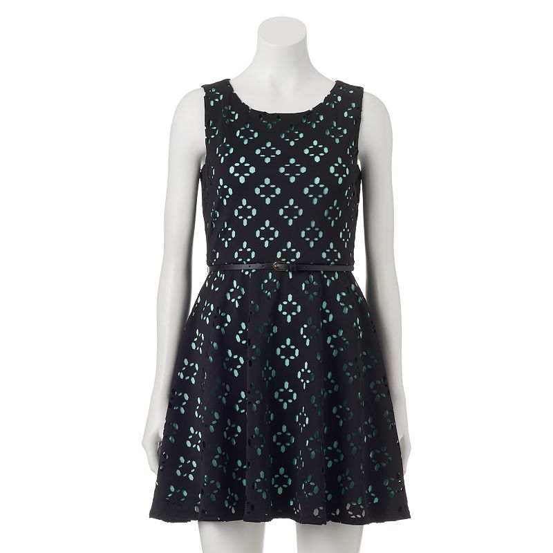 Juniors' Lily Rose Scuba Skater Dress