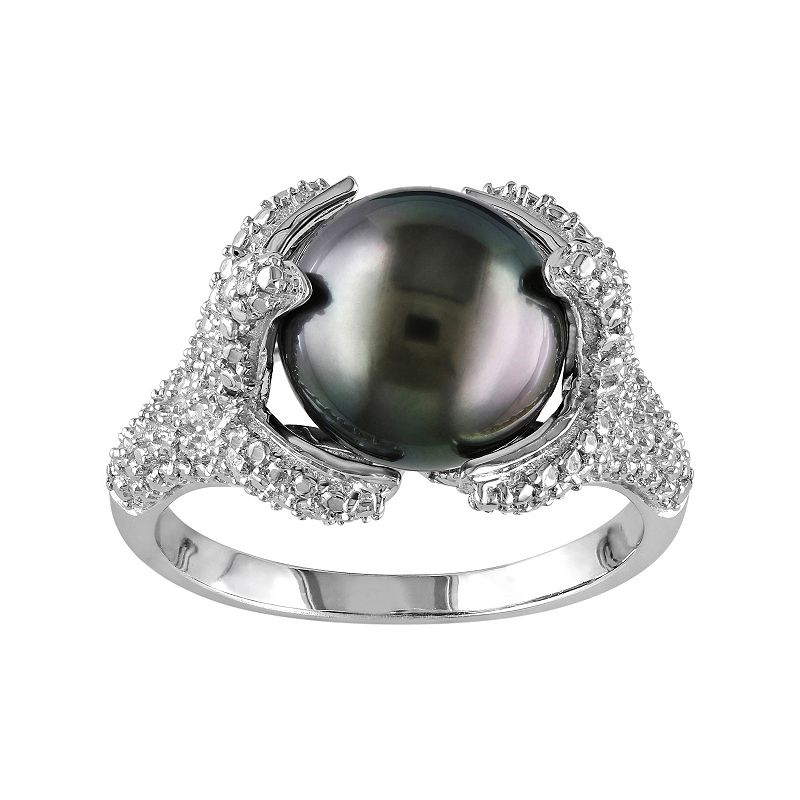 Sterling Silver Tahitian Cultured Pearl & 1/10 Carat T.W. Diamond Ring