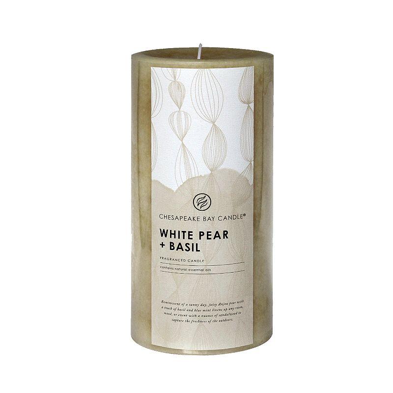 Chesapeake Bay Candle White Pear & Basil 8-in. Pillar Candle