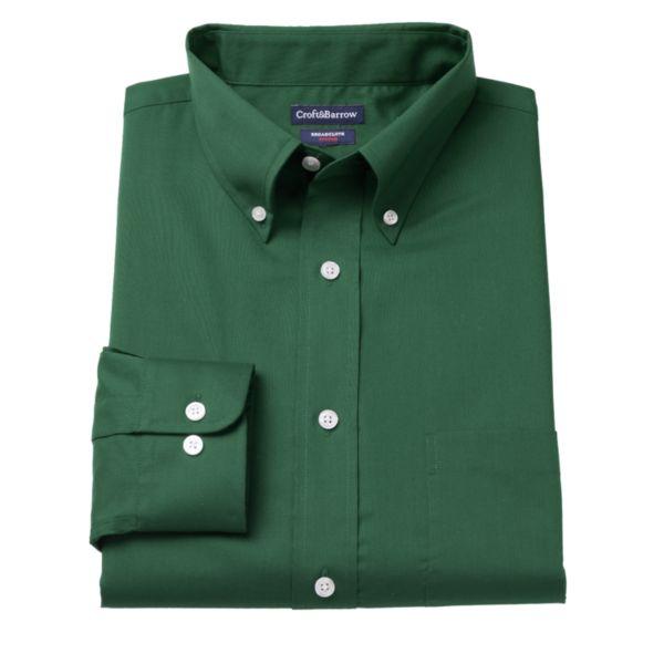 Big & Tall Croft & Barrow® Solid Broadcloth Button-Down Collar Dress Shirt