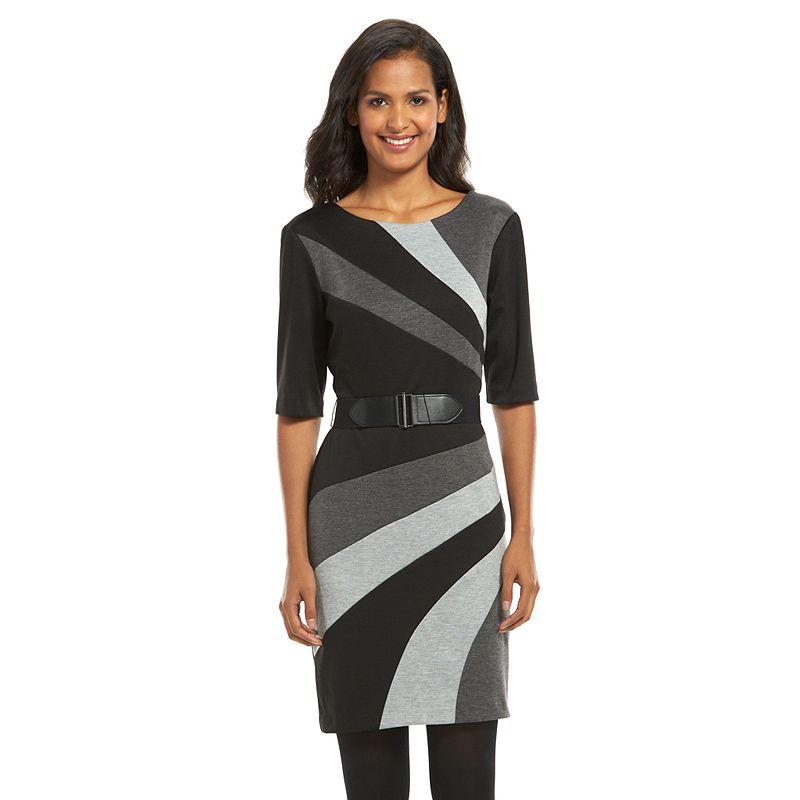 Connected Apparel Colorblock Sheath Dress - Women's