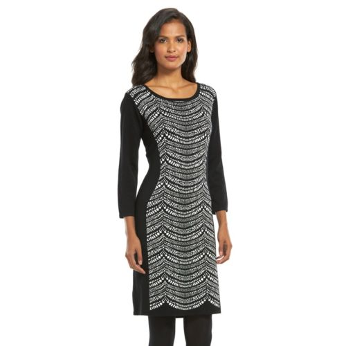 Connected Apparel Print Sheath Sweaterdress - Women's