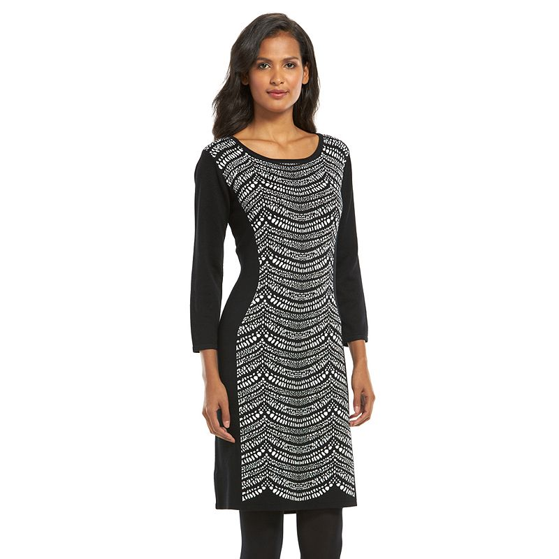 Connected Apparel Print Sheath Sweaterdress - Women's