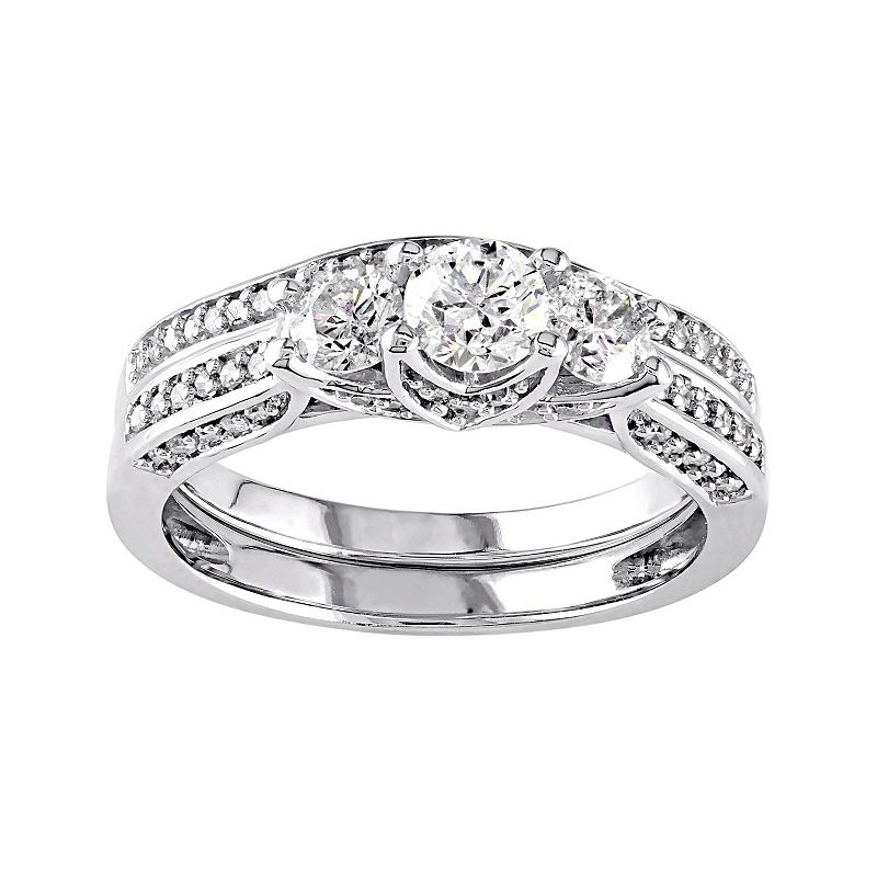 14k White Gold 1 1/10 Carat T.W. Diamond 3-Stone Tiered Engagement Ring Set