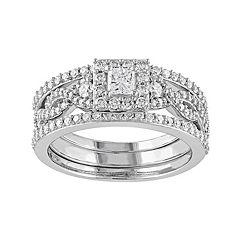 10k White Gold 1 Carat T.W. Diamond Square Halo Engagement Ring Set by