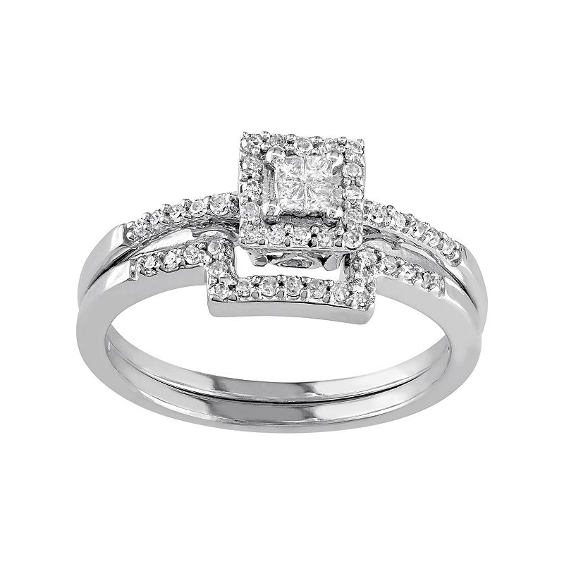 10k White Gold 1/3 Carat T.W. Diamond Square Halo Engagement Ring Set