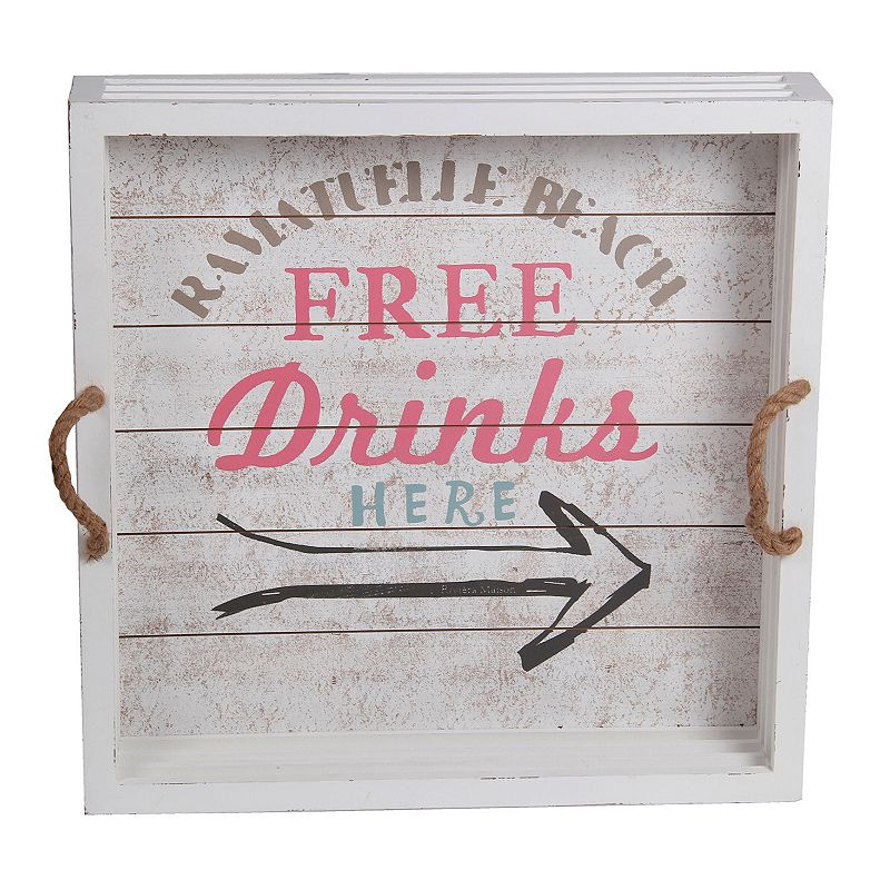 Privilege Large Whitewash ''Free Drinks'' Tray