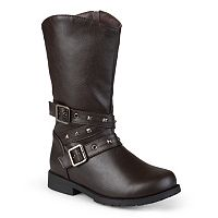 Journee Girls' Studded Buckle Boots