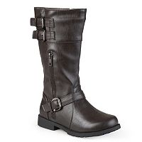 Journee Duo Girls' Moto Buckle Boots
